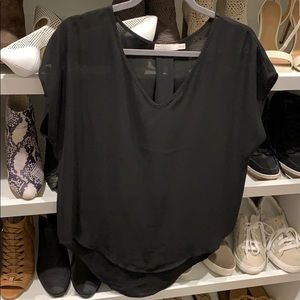 Lush brand black semi sheer top size XS